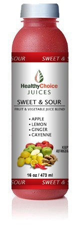 Healthy Choice Juices - Sweet & Sour - Apple, Lemon, Ginger, Cayenne Juice - 6 Bottles by Healthy Choice Juices