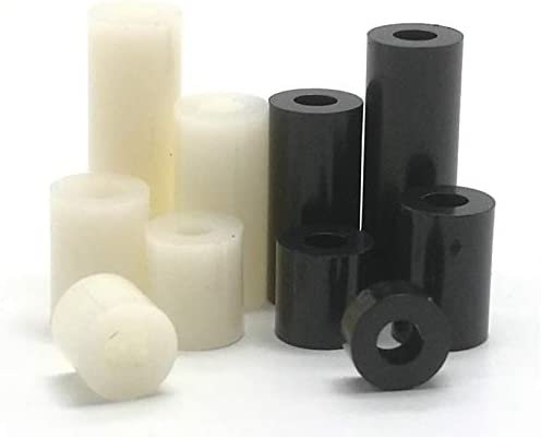 YJZG 50pcs M3 M4 black or white ABS Rround spacer standoff Nylon Non-Threaded Spacer Round Hollow Standoff Washer Color : Black colour, Length : 11mm, Size : M4