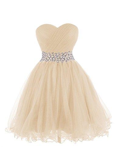 Abendkleid Cocktail Kleid ärmellos Champagner Kurz Auschnitt Aiyana Ballkleider Herz Party Elegantes 0axIfI