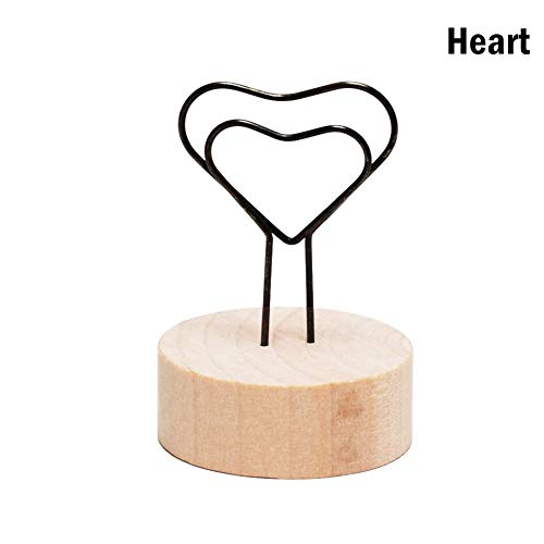 VIVIANE Creative Round/Square Wooden Photo Clip Memo Name Card Pendant Holder Note Articles Picture Frame Table Number Photo Holder (Color : Heart)