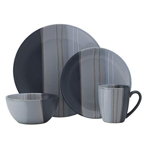 Pfaltzgraff 5237436 Parker 16-Piece Dinnerware Set, Service for 4, Gray ()