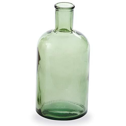 Mud Pie Green Spanish Class Bottleneck Medium Glass Vase,