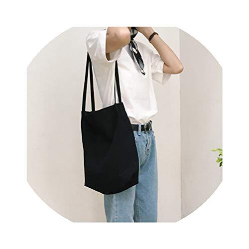 Canvas Tote Bag Handmade Pure Cotton Canvas Shopping School Books Trip Bag Women Shoulder Bag Shopping Bags,Bk