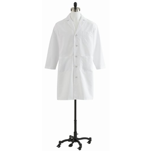 Medline MDT14WHT54E Mens Full Length Lab Coats, 54, (Mens Staff Length Lab Coat)