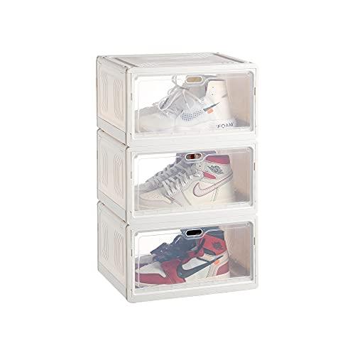 Cajas plastico apilables p/zapatos blanca pack 3 12x27x21 cm