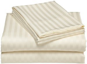 Royal Tradition Damask Stripes Ivory 300 Thread Count Split King Sheet Set 100% Cotton 5pc Bed Sheet set(Deep Pocket) 300 TC Dual King