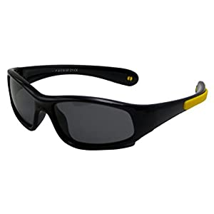 COOLSOME Flexible Rubber Kids Polarized UV Protection Sunglasses for Boys Girls 2-7 Years Old (Black yellow)