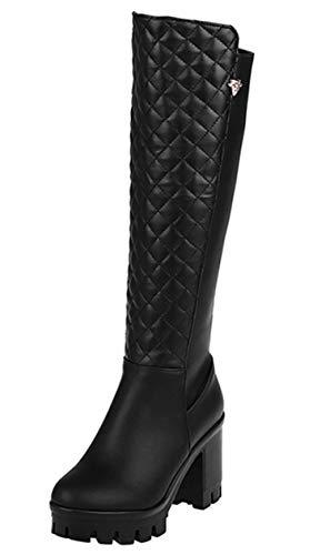 WSKEISP Knee High Riding Boots Zipper Winter Combat Boots Black