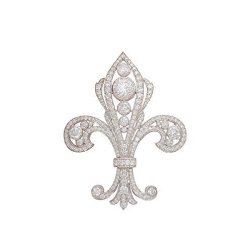 Adastra Jewelry White Round Filigree style CZ Brooch Pin For Women Solid 925 Sterling Silver Handcrafted