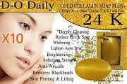 Pack of 10 Bars D-O Daily Whitening Pure Skincare Facial Gold Collagen Vitamin Soap Plus by kwantasmile by kwantasmile (Image #3)