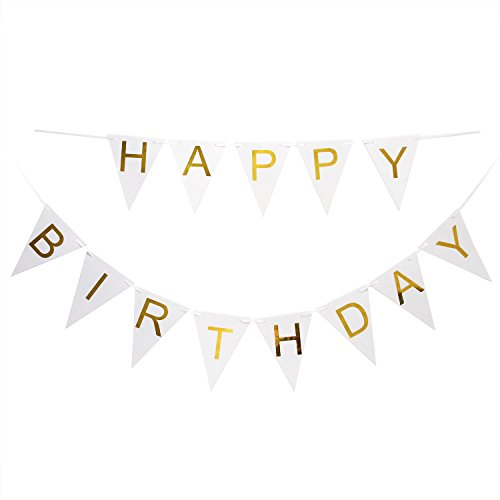 Price comparison product image Happy Birthday Banner Gold Letters Chic Birthday Party Decorations Triangle Bunting Flag Garland Garden Deco ,Can be Reused (White)
