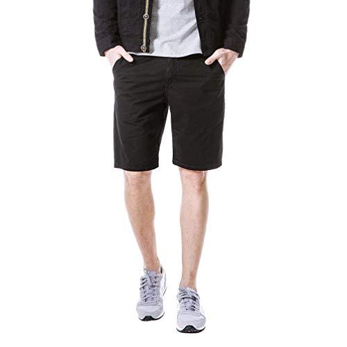 (NIKIShop Men Loose Perfect High Waist Pockets Short Pants Sweatpants Black)