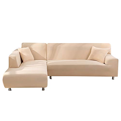 Beacon Pet L Shape Sofa Covers Sectional Sofa Cover 2pcs Polyester Fabric Stretch Slipcovers + 2pcs Pillow Covers for L-Shape Couch - Cream-Colored