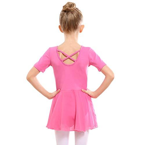 STELLE Girls Ballet Short Sleeve Dress Leotard for Dance, Gymnastics and Ballet(Toddler/Little Girl/Big Girl)(100cm, Bright Pink)