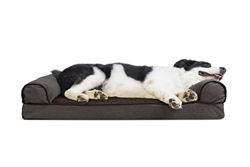Furhaven Pet Dog Bed | Cooling Gel Memory Foam Orthopedic Faux Fleece & Chenille Sofa-Style Couch Pet Bed for Dogs & Cats, Coffee, Large by Furhaven Pet