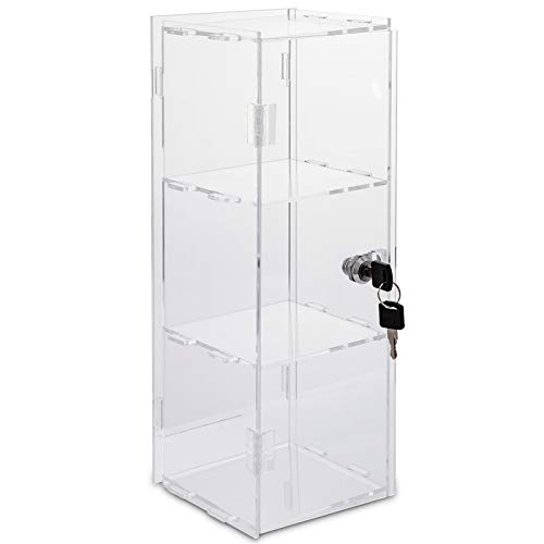 BestEquip 3 Tier Acrylic Display Case 9 x 9 x 18Inch Clear Display Case with Lock and 2 Keys Retail Display Cases for Cakes Donuts Cupcakes and Jewelry