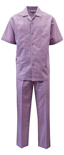 STACY ADAMS Men's Solid Linen Set (XL/38, Lavender)