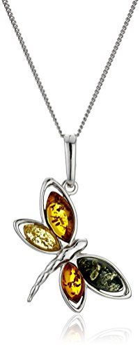 Amber Butterfly Necklace (Sterling Silver Multi-Color Amber Butterfly with Chain Pendant Necklace, 18