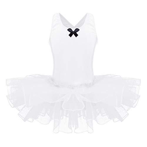 YiZYiF Kids Girl's Camisole Ballet Tutu Dress Up Leotard Dancewear Costumes (9-10, Cross-Back White) ()