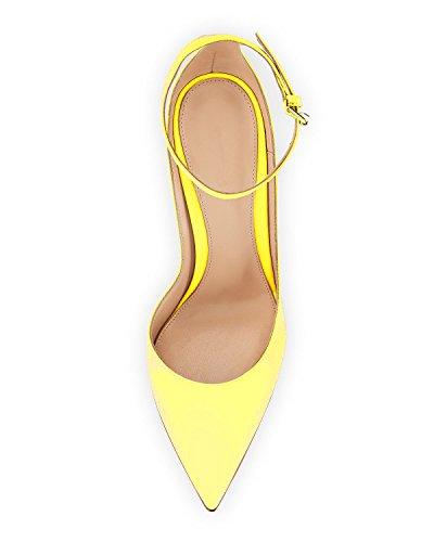 caviglia Chiusa Scarpe Scarpe Col donna con da Tacco Giallo Donna alla Punta cinturino Scarpe Soireelady OUwHU