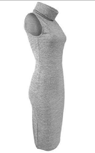 Coolred-femmes Sans Manches À Col Roulé Robe En Maille Moulante Mince Solide Gris Clair