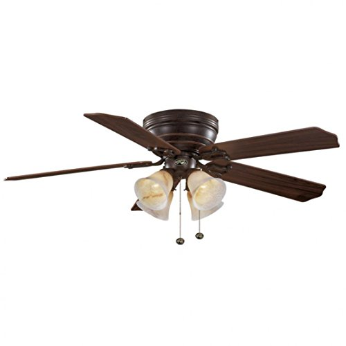 Hampton Bay 91111 Carriage House LED Indoor Iron Ceiling Fan with Light Kit, 52