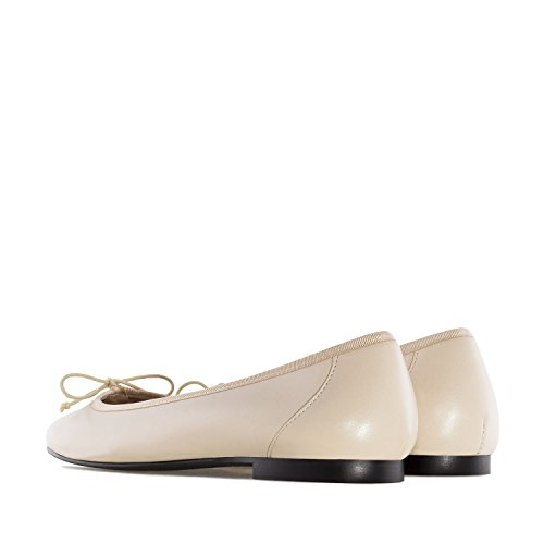 Andres Machado.Marta.Ballet Flats In Leather.Made In Spain.Womens Large Szs:US 10.5 To 13/EU 42 To 45 Beige Leather o5RV1