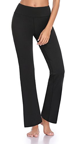 Guguyeah Women's Workout Bootleg Yoga Pants Bootcut Leggings Active Wear with Hidden Pockets(Black Size - Length Petite