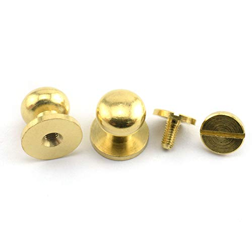 LQ Industrial 8PCS Solid Brass Sam Browne Button Screw Studs Nail Round Rivets for DIY Leather Craft Belt Wallet Handbag 10x12x12mm ()