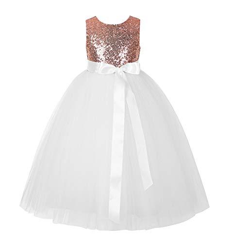ekidsbridal Heart Cutout Sequin Junior Flower Girl Dress Christening Dresses 172seq 8 Rose -