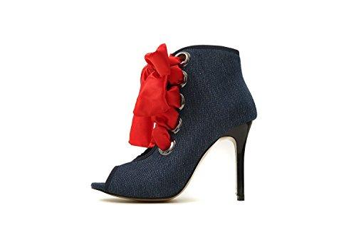 de para Amarre Mujer Zapatos Frontal Código de Grandes de Sandalia Alta Ayuda Blue Sandalias con Pulsera Boca Pescado con Mujer Mujer Navy Y7IfqI