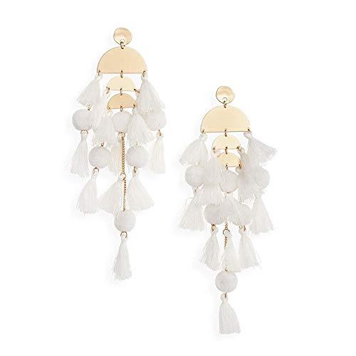 White Long Tassel Earring Statement Dangle Earrings Boho Handmade earring for Women