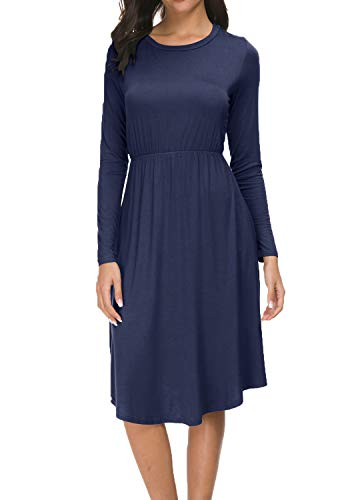 levaca Women Long Sleeve Plain Causal Loose Flowy Midi Tunic Dress Deep Blue XL