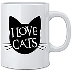 I Love Cats - Funny Cat Mug - White 11 Oz. Coffee Mug - Great Novelty Gift for Cat Lovers, Mom, Dad, Co-Worker, Boss and Friends by Mad Ink Fashions