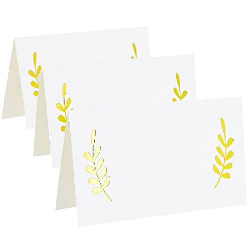 - Best Paper Greetings 100-Count Gold Foil Table Place Cards - Laurel Leaf Tent Cards for Wedding, Bridal Shower, and Dinner Parties, 2 x 3.5 Inches