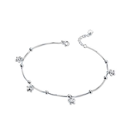 - Fashion Butterfly Anklets 925 Sterling Silver Adjustable Sexy Beads Beach Foot Ankle Bracelet Chain for Women Teen Girls