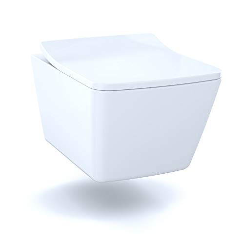 TOTO CT449CFG#01 SP Wall-Hung Contemporary Square-Shape Dual Flush 1.28 and 0.9 GPF Toilet with CEFIONTECT-CT449CFG, Cotton White