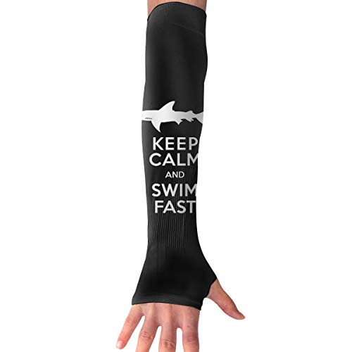WAY.MAY Keep Calm Swim Fast Sun Protection Sleeve Long Arm Fingerless Gloves Outdoor Sleeve