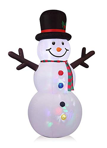 Inflate Snowman - 8FT Inflatable Snowman with Projection Lighting Indoor Outdoor Christmas Holiday Decorations