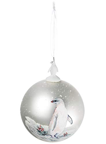 Sullivans Snowy Adelie Penguin Mercury Glass Look 4 Inch Christmas Hanging Ball Ornament ()