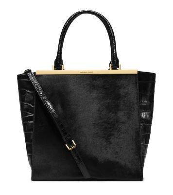 Michael Kors Lana Embossed-leather Tote Black