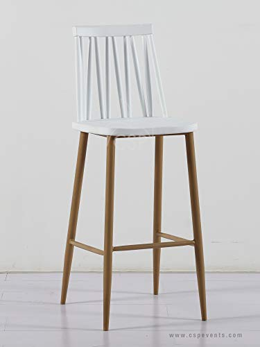 Plastic Windsor White Barstool with Metal Legs