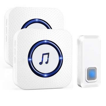 110V to 260V Wireless Chime Music Door Bell Waterproof 2 Receivers 55 Ringtone 300M Range Doorbell - Security & Protection Music Doorbell - (UK Plug) -
