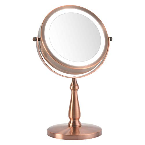 Vanity mirrors,Lighted Makeup Mirrors with 1x 5x,360 Swivel Magnifying Mirror,Red Copper