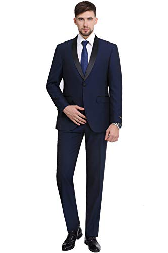 P&L Men's Suit 2-Piece Premium Slim Fit Prom Party Wedding Tuxedo Blazer Jacket & Flat Front Pants Navy