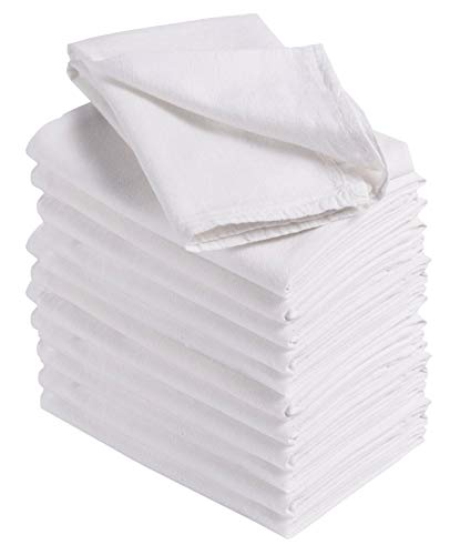 (HomeLabels Kitchen 12 Pack Flour-Sack Towels, 100% Pure Rung Spin Cotton, Hand Towels, Multi-Purpose, Highly Absorbent )