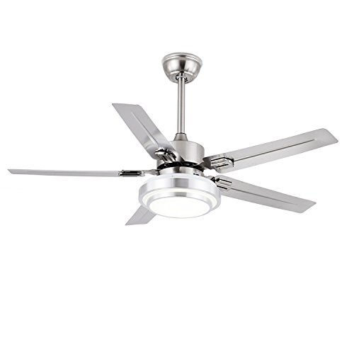 "FXY Modern 52"" Ceiling Fan with Remote 3-Color LED Changing Lights 5 Stainless Blades Reversible Silent Ceiling Fan with Sloped Ceiling Kit for Living Room Lofts Gym Kitchen, Brushed Nickel"