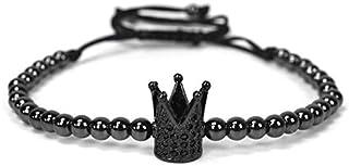 SHOUZ Braccialetto Braccialetto di Perline di Rame Intrecciato Micro intarsiato Zircon Crown 4mm Copper Bead Bracciale Intrecciato a Mano Regolabile