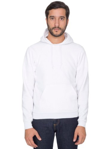 American Apparel Men Flex Fleece Drop Shoulder Pull Over Hoodie Size S White (Drop Fitted Shoulder)