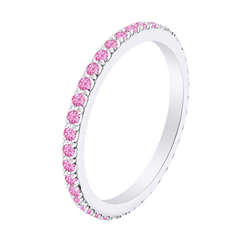 AFFY Simulated Pink Tourmaline Full Eternity Band Ring 14k White Gold Over Sterling Silver-4
